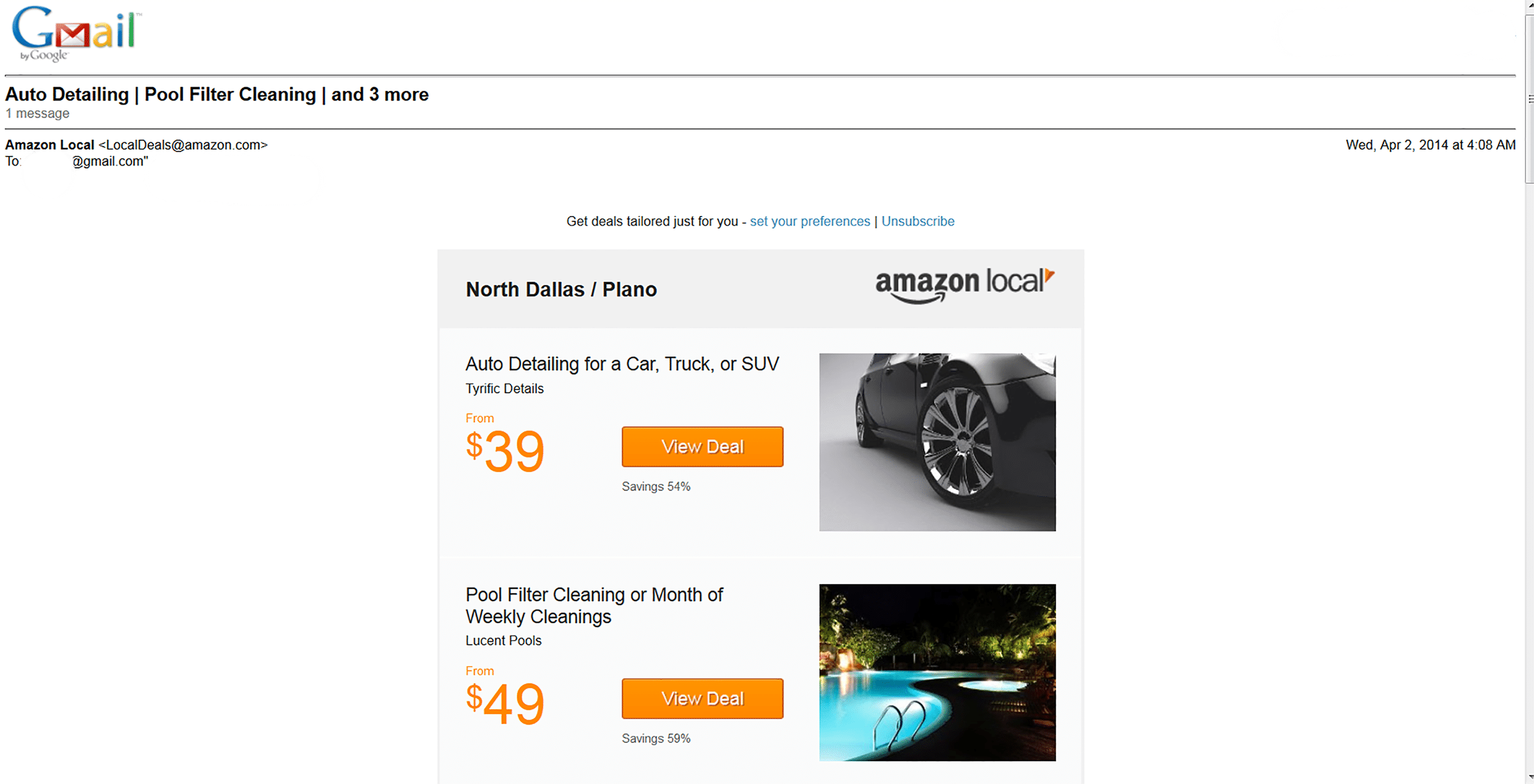 Email Example from Amazon Local