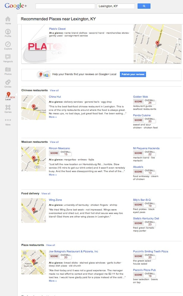 Google Places Integrates with Google+