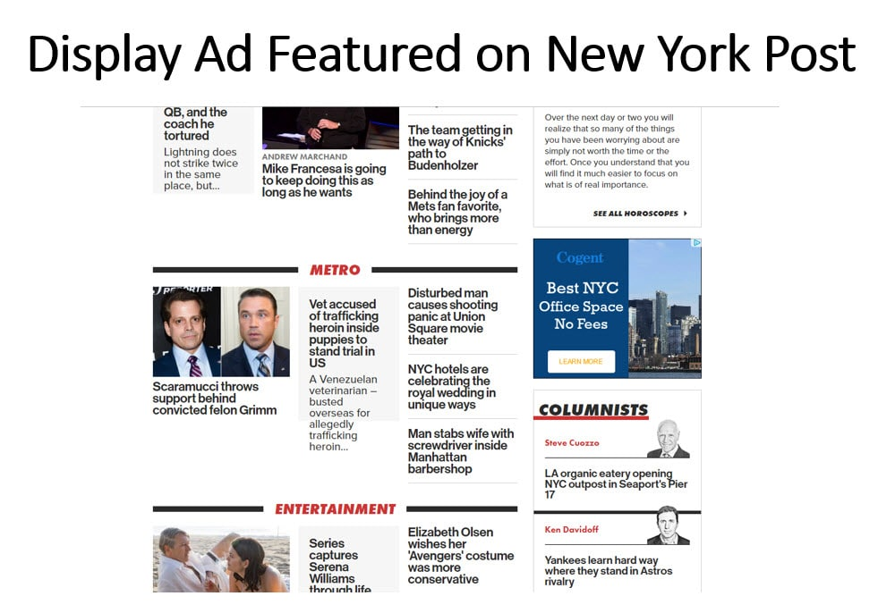 Display advertising for apartment building