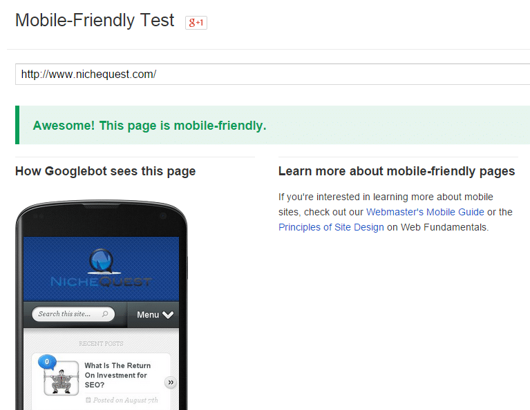 Google's mobile friendly update April