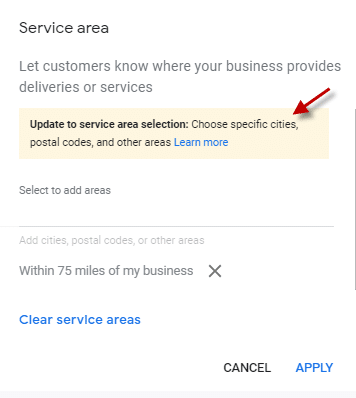 Updates to GMB service area businesses
